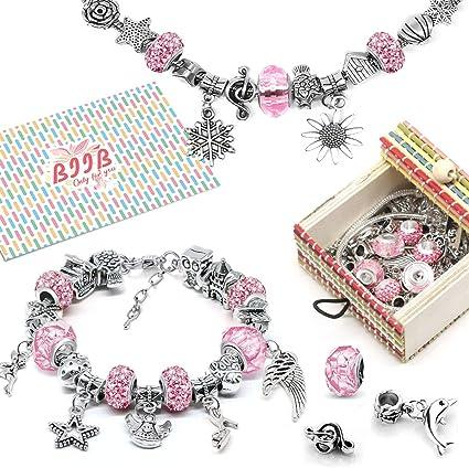 BIIB Gift for Girls - Charm Bracelet Kit DIY Jewellery Craft Set Girls Bracelet Girls Gift 8-12 Years Craft Girls Personalised Gift Set (3 Silver Chains): Amazon.de: Küche & Haushalt
