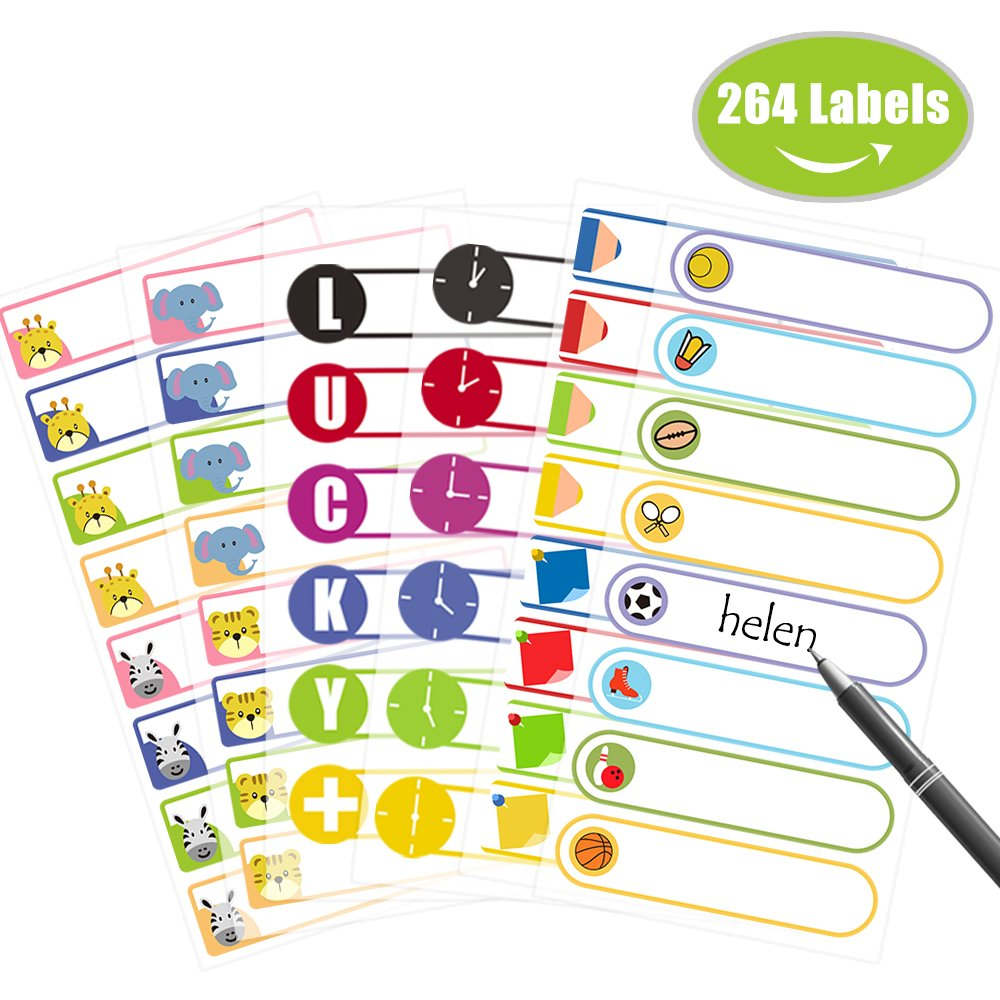Itari Baby Bottle Labels for Daycare,Waterproof Name Labels for Kids, Write-On Self-Laminating Labels for School,Daycare 264 Labels