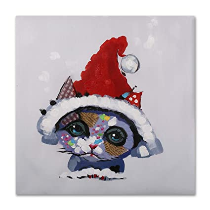 6a92e238 Image Unavailable. Image not available for. Color: Art Hub 100% Hand  Painted Oil Painting Modern Pop Animal Art Décor Santa Hat Cat