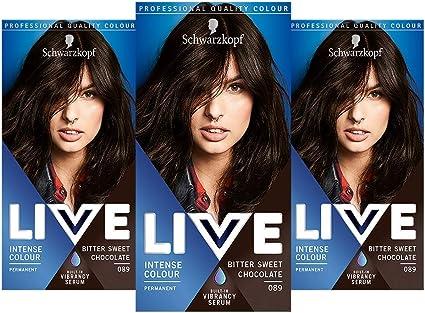 Schwarzkopf Live Intense Colour Tinte para el cabello, color permanente y suero vibrante integrado, 3 x 089 chocolate dulce amargo