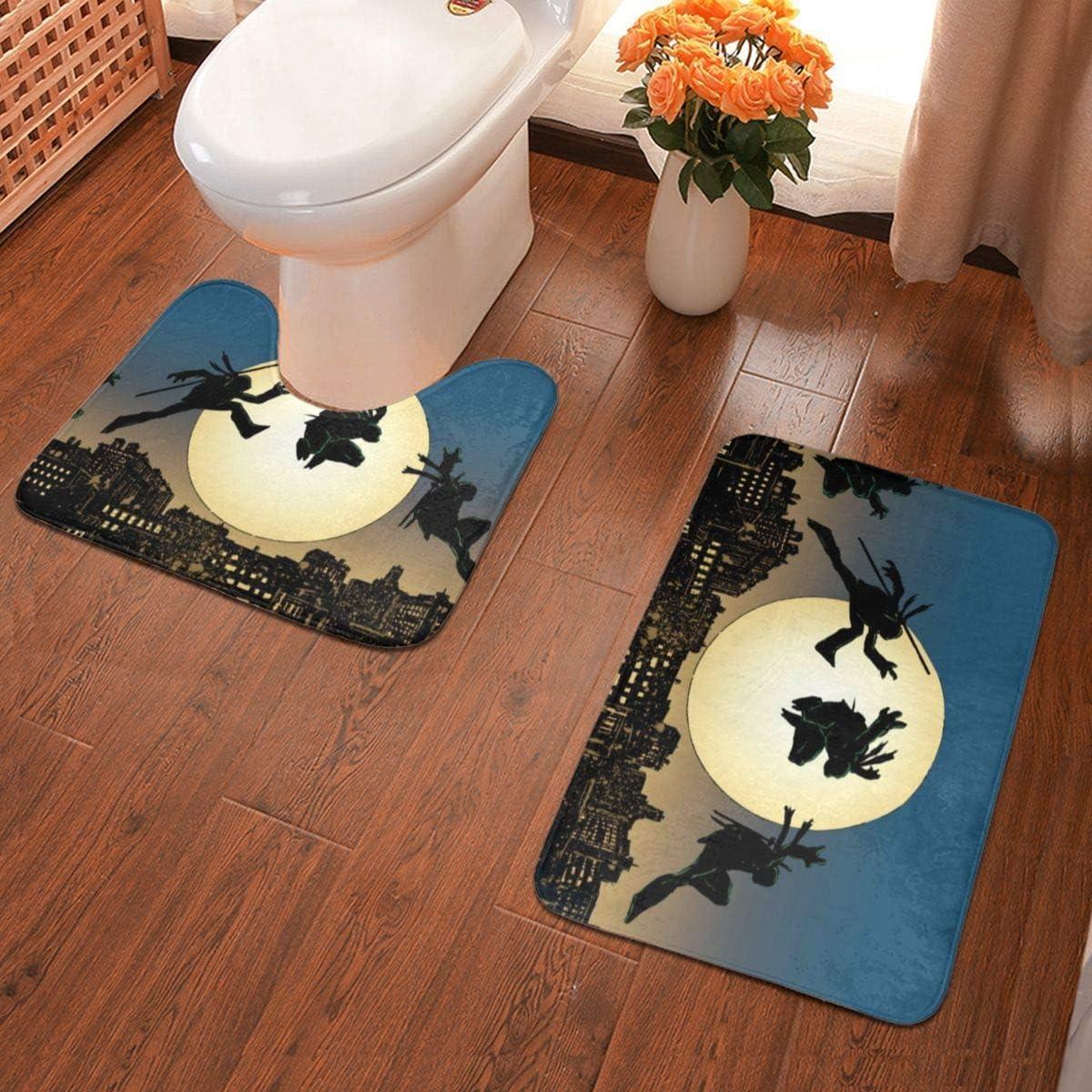 Boweike Teenage Mutant Ninja Turtles Bathroom Antiskid Pad Non-Slip Bath Carpet Floor Mat Rug 2 Sets -Floor Mat+U-Shaped Pad, Toilet Washable Blanket Mats for Bathroom Home Shower
