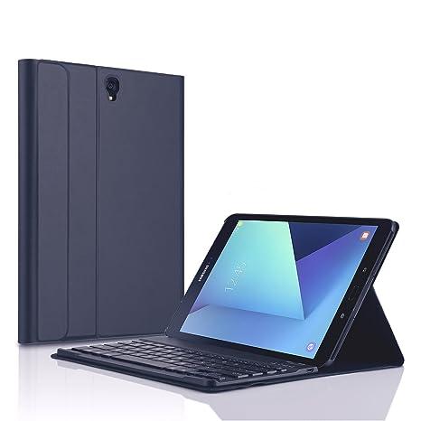 KuGi Samsung Galaxy Tab S3 9.7 teclado Funda carcasa [QWERTY], caso desmontable ultraplano del soporte del ...