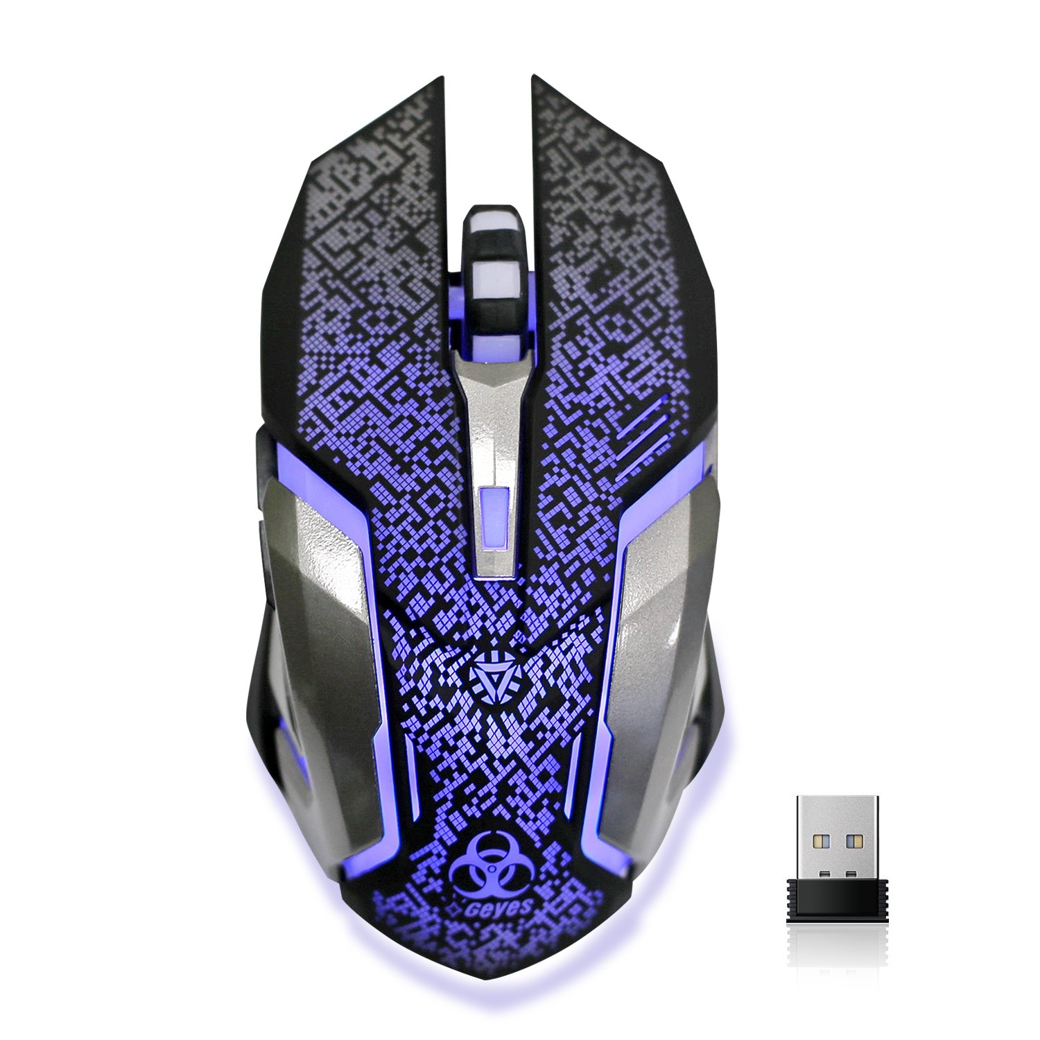 Wireless Gaming Mouse, VEGCOO C8 Silent Click Wireless Rechargeable Mouse  with Colorful LED Lights and 2400/1600/1000 DPI 400mah Lithium Battery for
