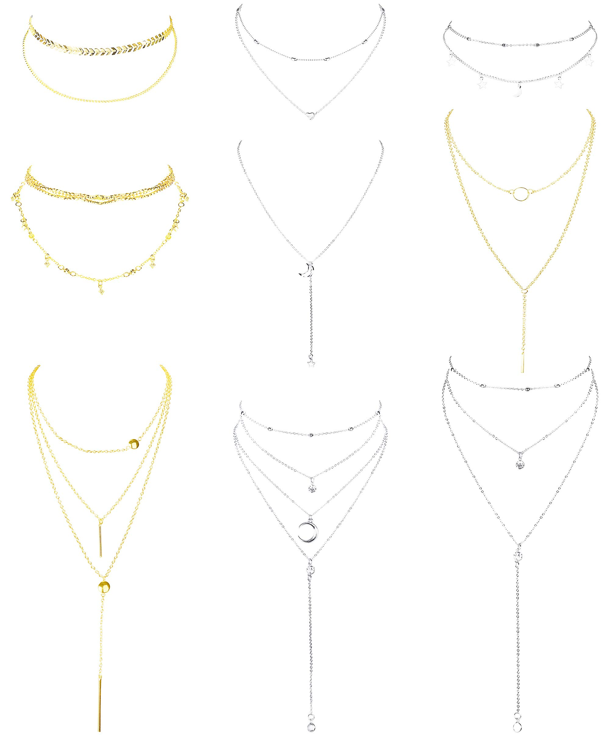 LOYALLOOK 8pcs Boho Layered Necklace Pendant Gold & Silver Tone Necklace Y Necklace Bar Pendent Necklace Set for Women Girls Mother Jewelry Set