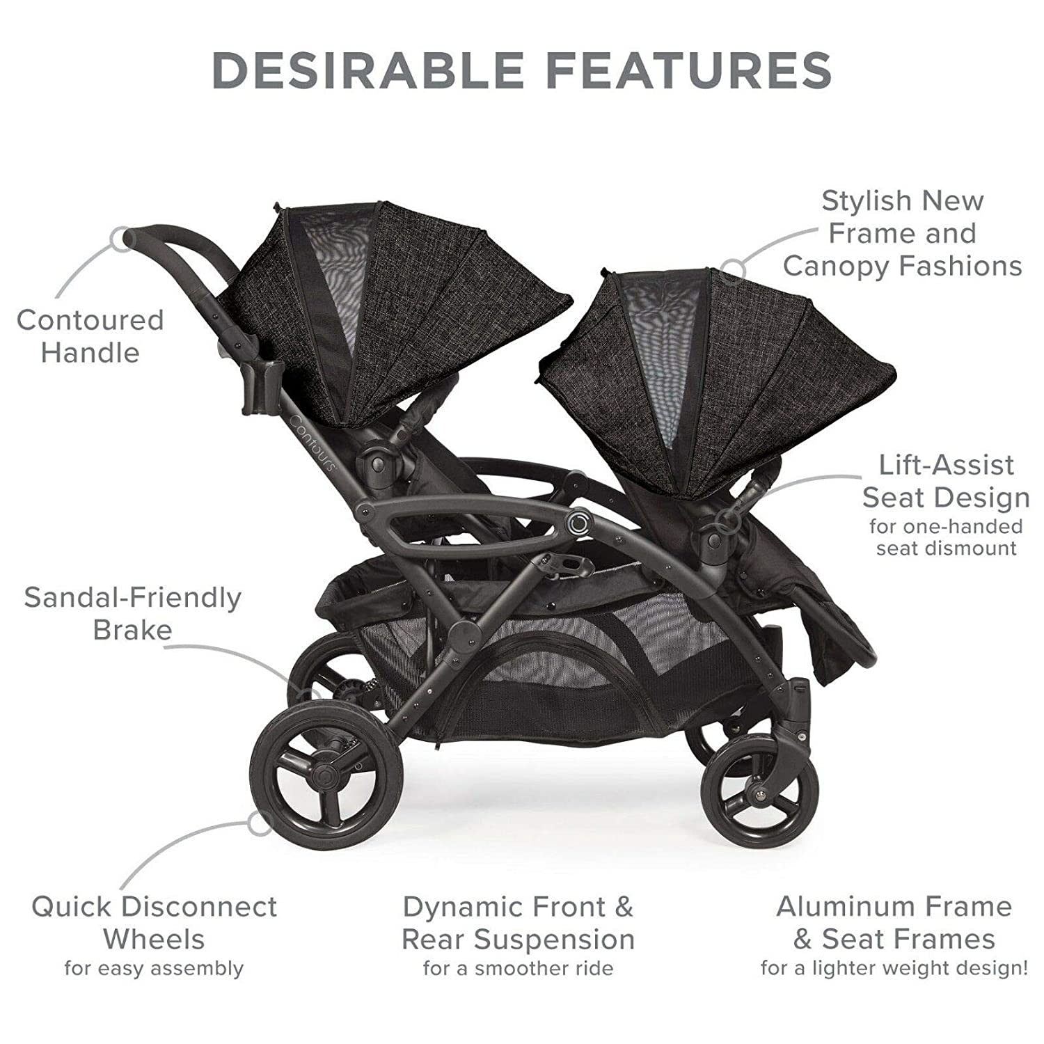 Contours Options Elite Tandem Double Toddler Baby Stroller, Multiple Seating Configurations, Reclining Seats, Lightweight Frame, Car Seat Compatibility, Large Storage Basket, Carbon Gray