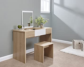 Marlow Oak and White Lift Up Mirrored Dressing Table Set with Stool ...