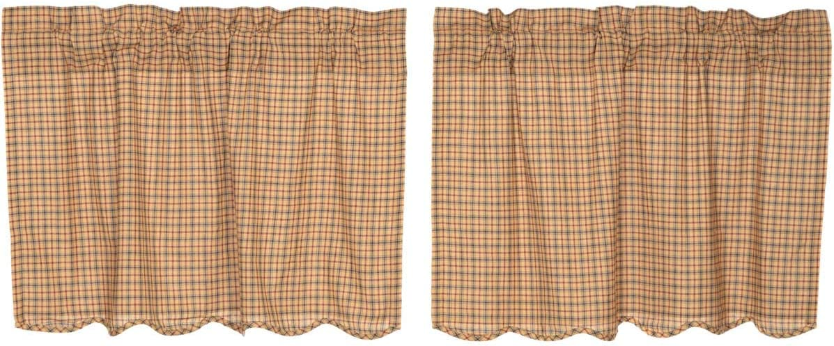 VHC Brands Millsboro Tier Scalloped Set of 2 L24xW36 Country Rustic Curtains, Tan