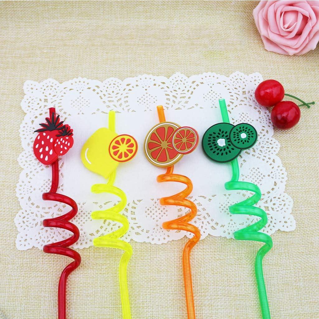 f/êtes danniversaire Fruits 3D D/écoration pour Les f/êtes d/ét/é Amycute Lot de 12 pailles r/éutilisables pour Smoothies d/écoration de Table Plage Boissons congel/ées