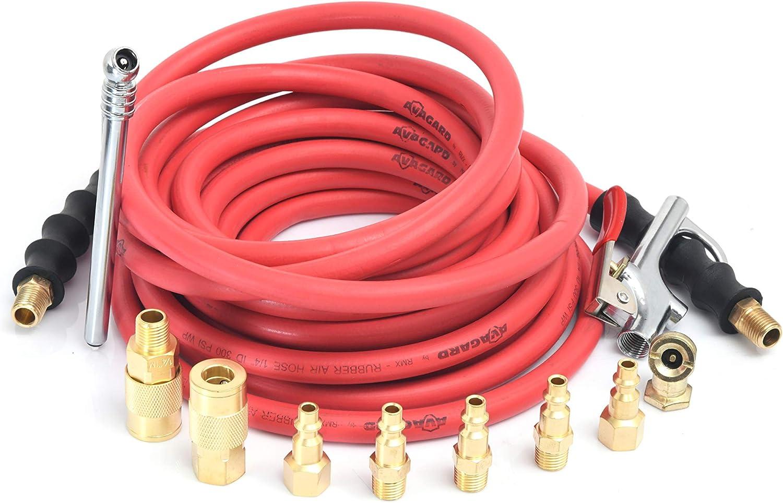 Premium Rubber Air Hose RMX Avagard 1//4 x 25 13pc Kit 100/% Rubber 20/% Lighter - AVG1425KIT