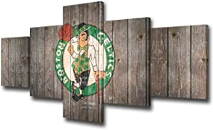 TUMOVO Boston Celtics Wall Decor Art Paintings 5 Piece Basketball Sports Canvas Pictures Artwork for Living Room NBA Prints and Poster Rustic Home Decoration Wooden Framed Ready to Hang(50