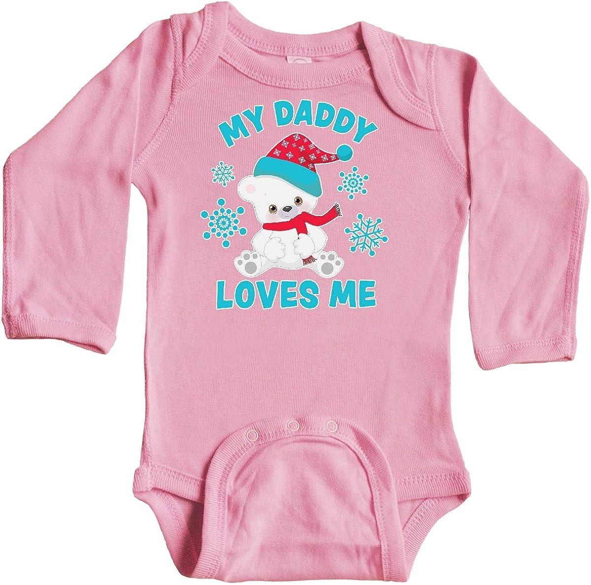 inktastic Polar Bear My Daddy Loves Me in Santa Hat with Long Sleeve Creeper