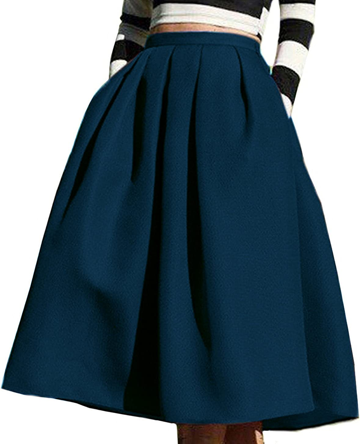FACE N FACE Women's High Waisted A line Street Skirt Skater Pleated Full Midi Skirt