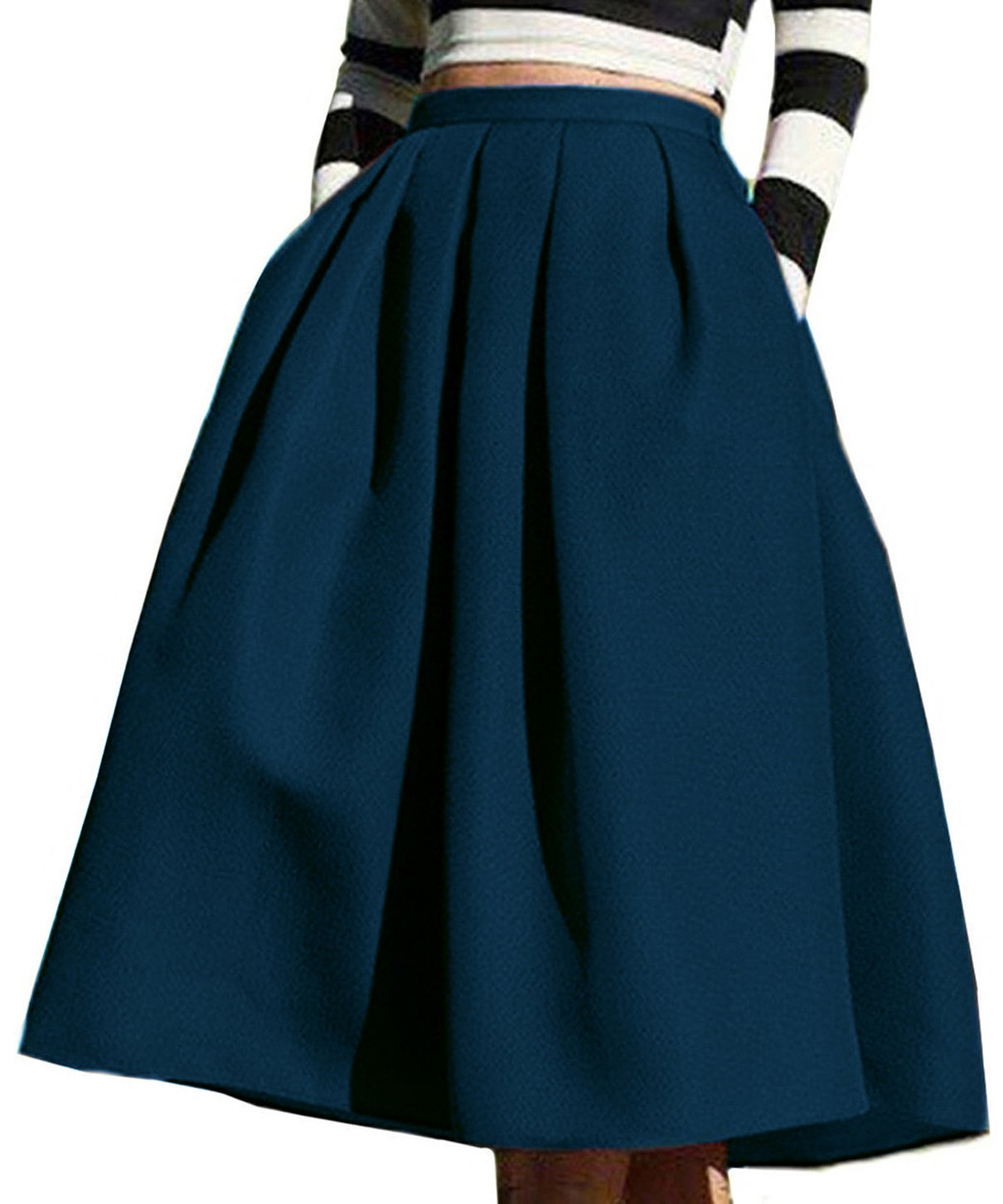 Face N Face Women's High Waisted A line Street Skirt Skater Pleated Full Midi Skirt Small Navy