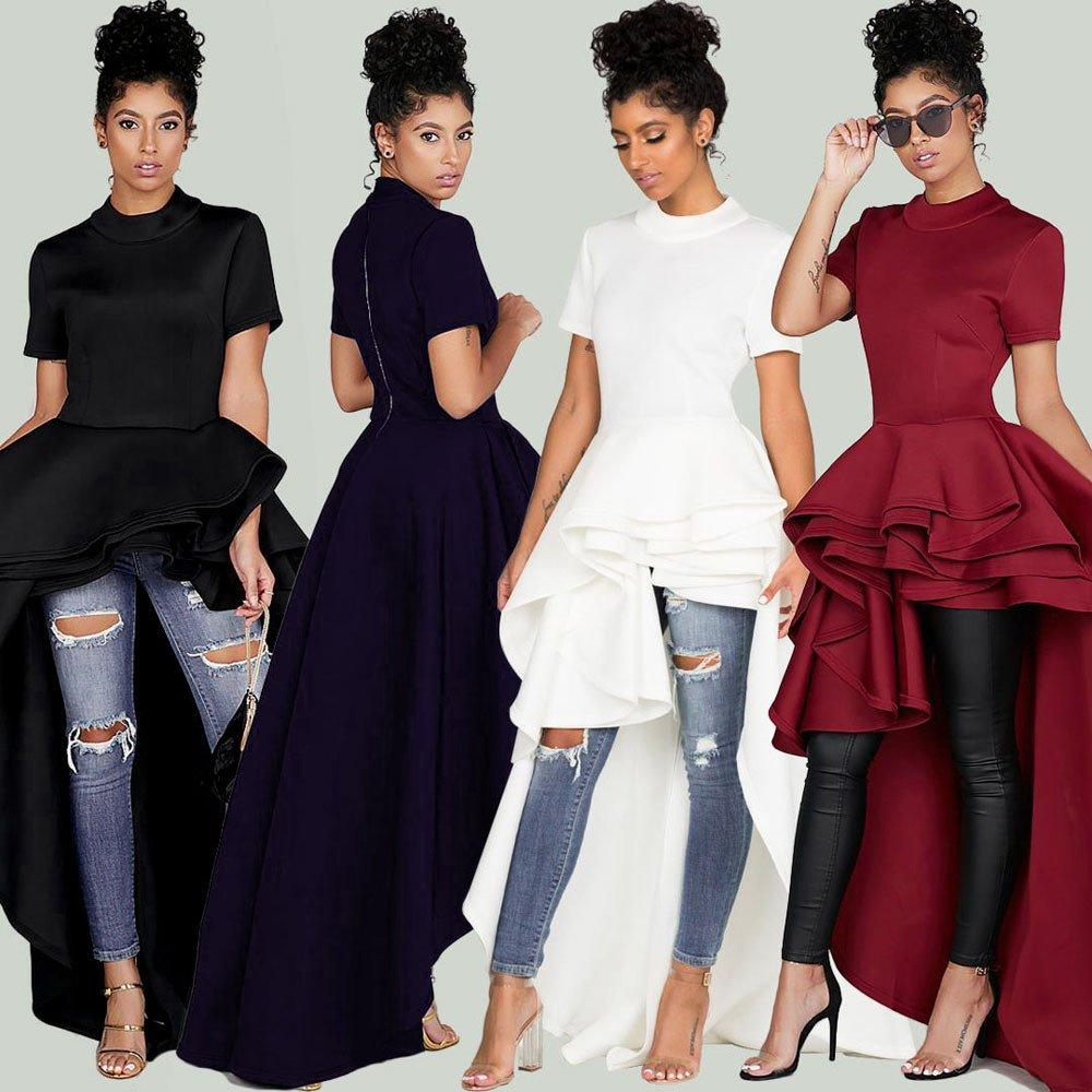 Women's Short Sleeve High Low Peplum Dress Womens High Collar Dress Vintage Lace Swing Dress(Black,L) by Kalinyer (Image #6)