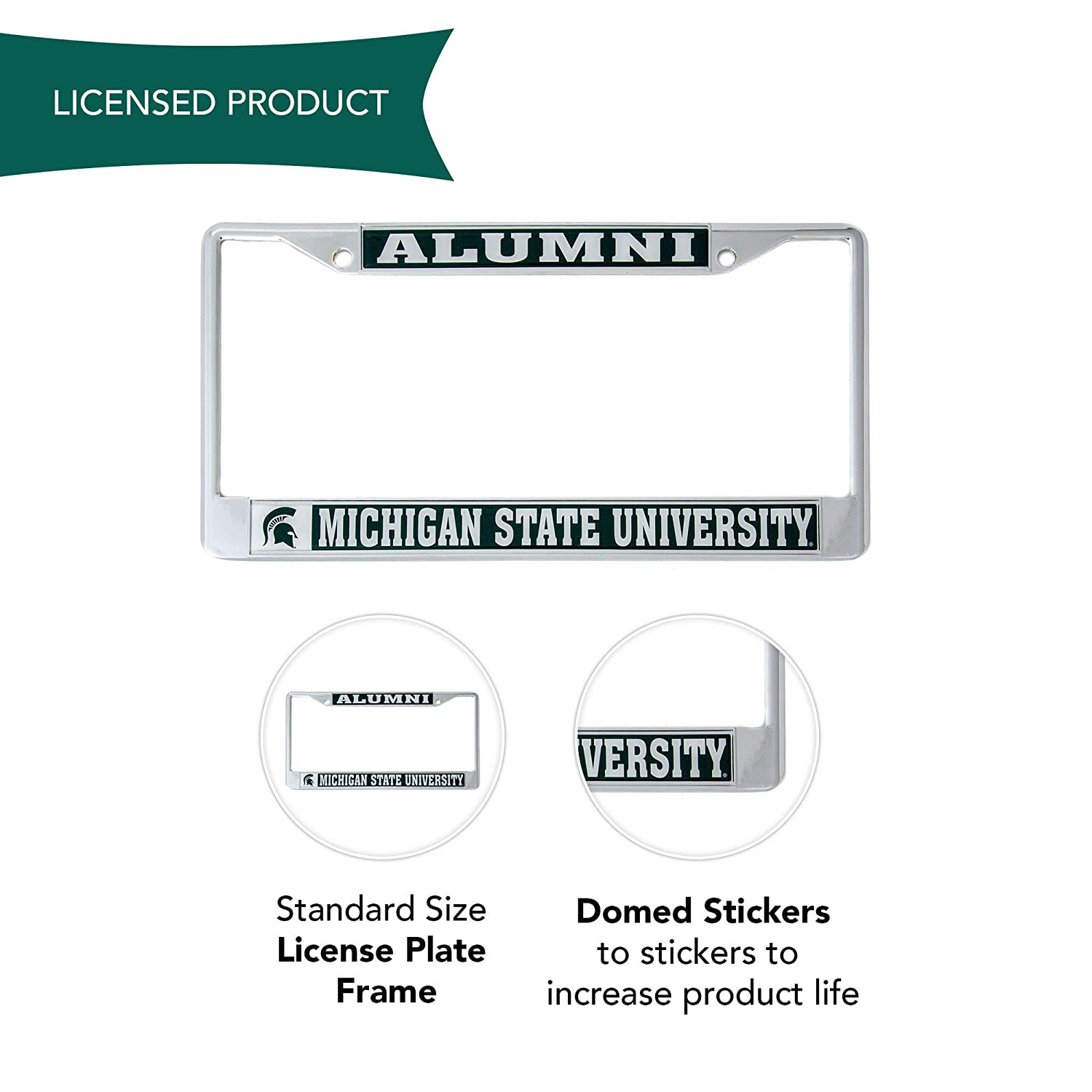 Desert Cactus Michigan State University Alumni Metal License Plate Frame for Front Back of Car Officially Licensed MSU Spartans Craftique