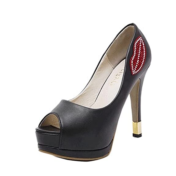 ef62e0c3c7 Women Red Lips Stiletto Shoes Platform High Heels Pump Party Sandals Peep  toe
