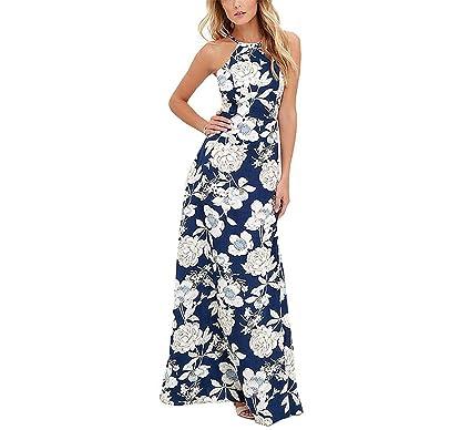 COOCOl New Sexy Women Boho Dress Halter Neck Floral Print Sleeveless Summer Dress Holiday Long Beach