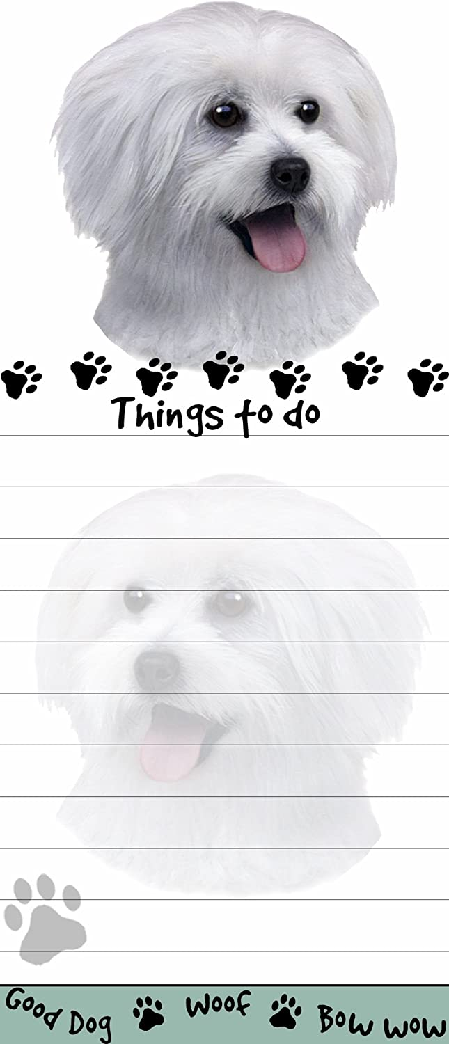 """""""Maltese Puppy Magnetic List Pads"""" Uniquely Shaped Sticky Notepad Measures 8.5 by 3.5 Inches"""