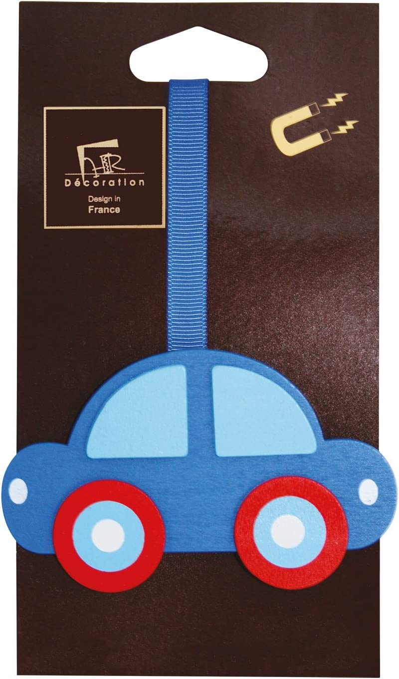 Aroa XXI Iman Infantil Coche Abrazadera para Cortinas Madera Azul 24 x 6,5 x 1 cm