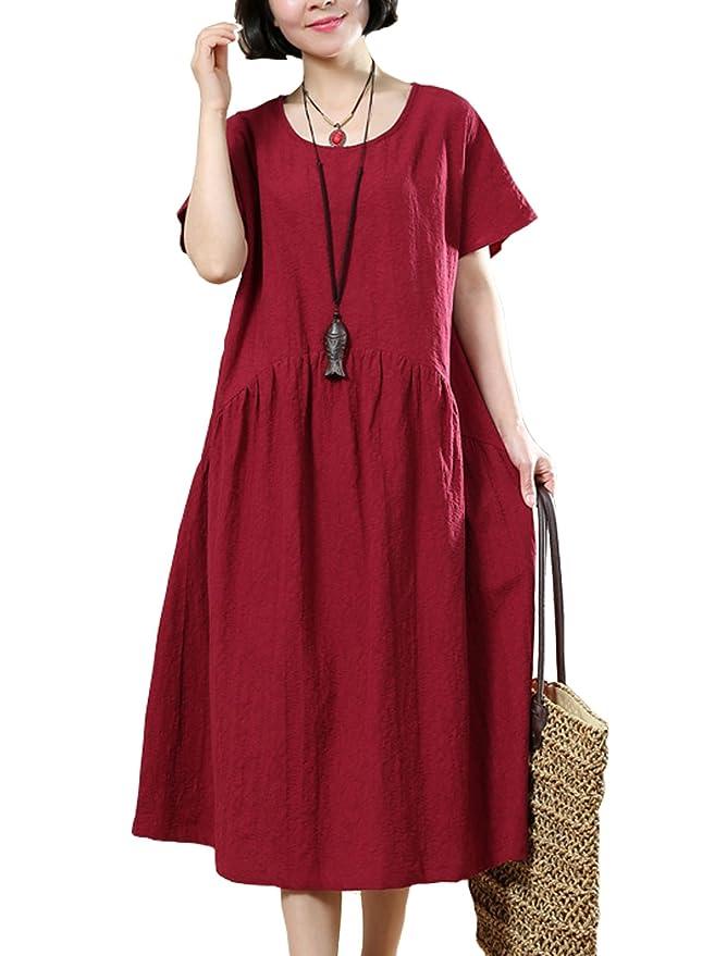 078266c5217 Fancy beautystyle Women s Casual Dress Party Dress Summer Dress Simple  Linen Tunic Dress (Fit US 2-12