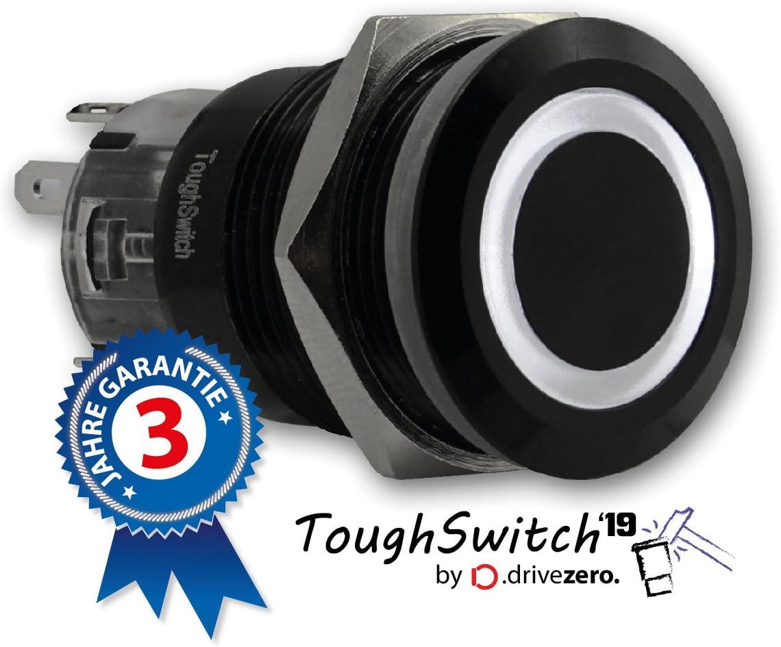 ToughSwitch 19 mit LED-Leuchtring Kaltweiss 12V .drivezero Taster schwarz bis 230V // 5A IP67 staub- und wasserdicht