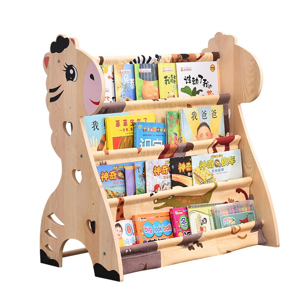 Bibliothèque pour enfants Étagère de plancher en bois massif de bande dessinée Tablette de livre simple d'école primaire Étagère de magazine (Color : Wood color, Size : 75x40x75cm)