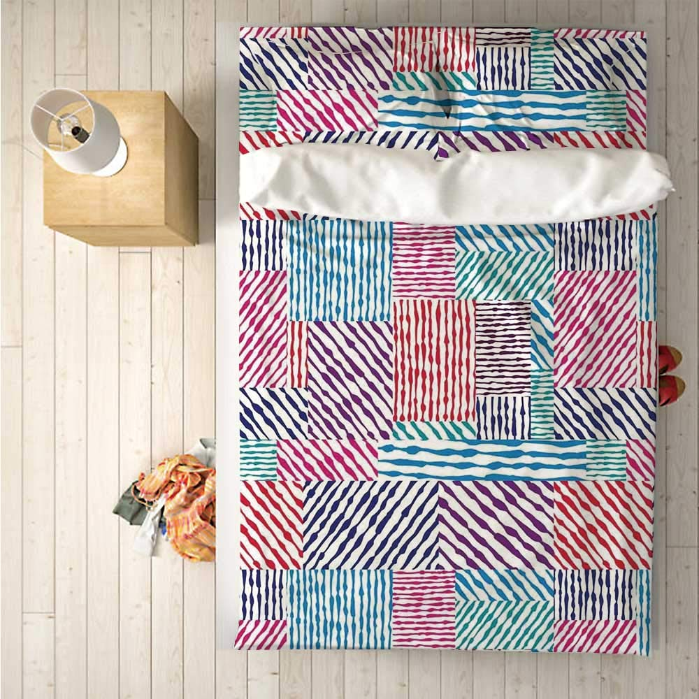 Abstract Soft 4 Piece Bedding Set,Colorful Wavy Lines in Parallel Horizontal and Vertical Symmetric Stripes Design for Bedroom,One Side Print : Singe