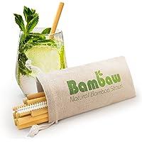 Bambaw 12 Pailles en Bambou   Pailles écologiques, biodégradables et réutilisables   Fabriquées à la Main à Bali   Inclus Une Brosse de Nettoyage et Une Pochette de Rangement
