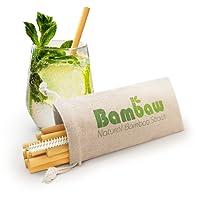Bambaw 12 Pailles en Bambou | Pailles écologiques, biodégradables et réutilisables | Fabriquées à la Main à Bali | Inclus Une Brosse de Nettoyage et Une Pochette de Rangement