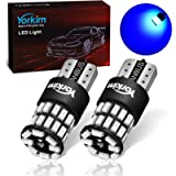 Yorkim 194 LED Bulb Blue, Error Free T10 Led Bulbs Blue 168 LED Bulb Blue for Interior Dome Map Door Courtesy Trunk…
