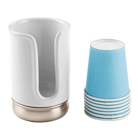 mDesign Dispensador de vasos desechables - Práctico soporte para vasos de papel - Portavasos de baño para una óptima higiene bucal - Incluye 8 vasos ...