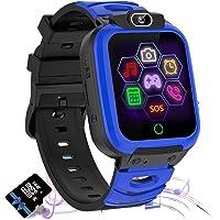Barn smartklocka telefon med musik och spel för pojkar flickor 1,57 HD pekskärm (blå)