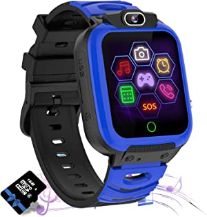 Kids Smart Watch Phone, HD Touch Screen Smart Watch for Kids with Call SOS/ 7 Puzzle Games/Camera/Recorder/Music Player/Alarm/Calculator, Birthday Gift for Children Boys Girls for 4-12 Years(Blue)