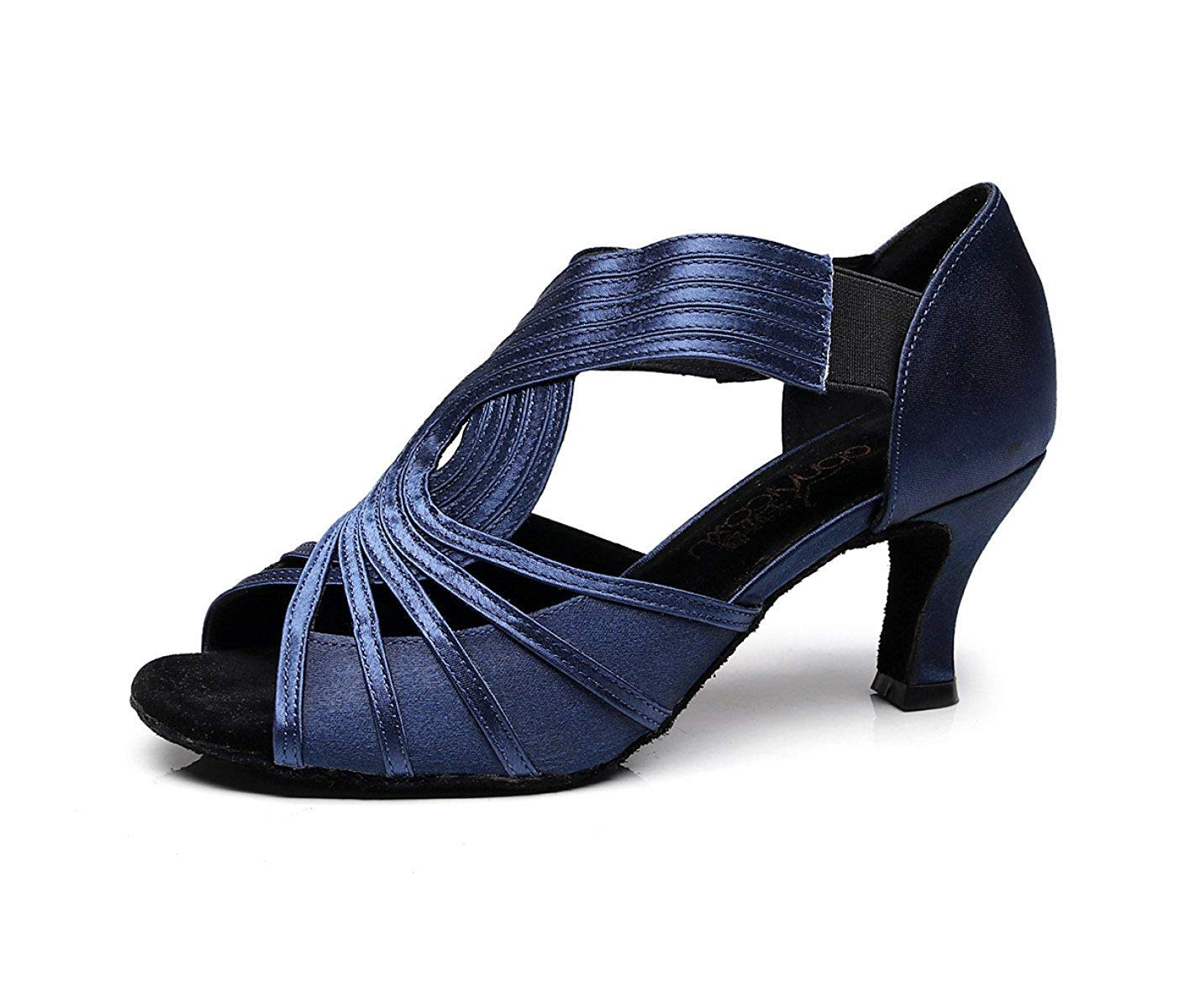 Yingsssq Damen Kristalle Sparking Satin Latin Salsa Tanzschuhe Tango Chacha Samba Modern Jazz Schuhe Sandalen High Heels Blau-Absatz 6cm-DE3   EU33   Our34