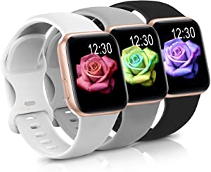Sport Band Compatible with Apple Watch iWatch Bands 38mm 40mm,Soft Silicone Strap Wristbands for Apple Watch Series 3 6 5 4 2 1 SE Women Men Pack 3,Black/Gray/White,38/40mm,S/M