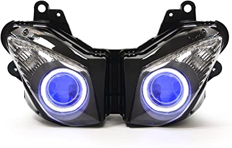 KT LED Angel Eye Headlight Assembly for Kawasaki Ninja ZX-6R 2009-2012 Blue Demon Eye
