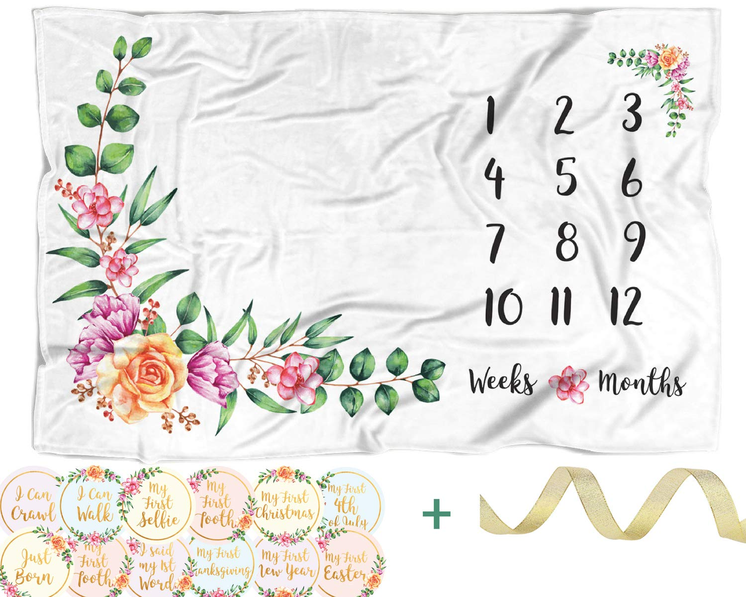 Baby Monthly Milestone Blanket with 12 Stickers | Large 60''x40'' Month to Month Age Blankets | Infant Girl Newborn Photo Prop, Soft Photography Background Blanket, Best Baby Shower Gift for New Mom
