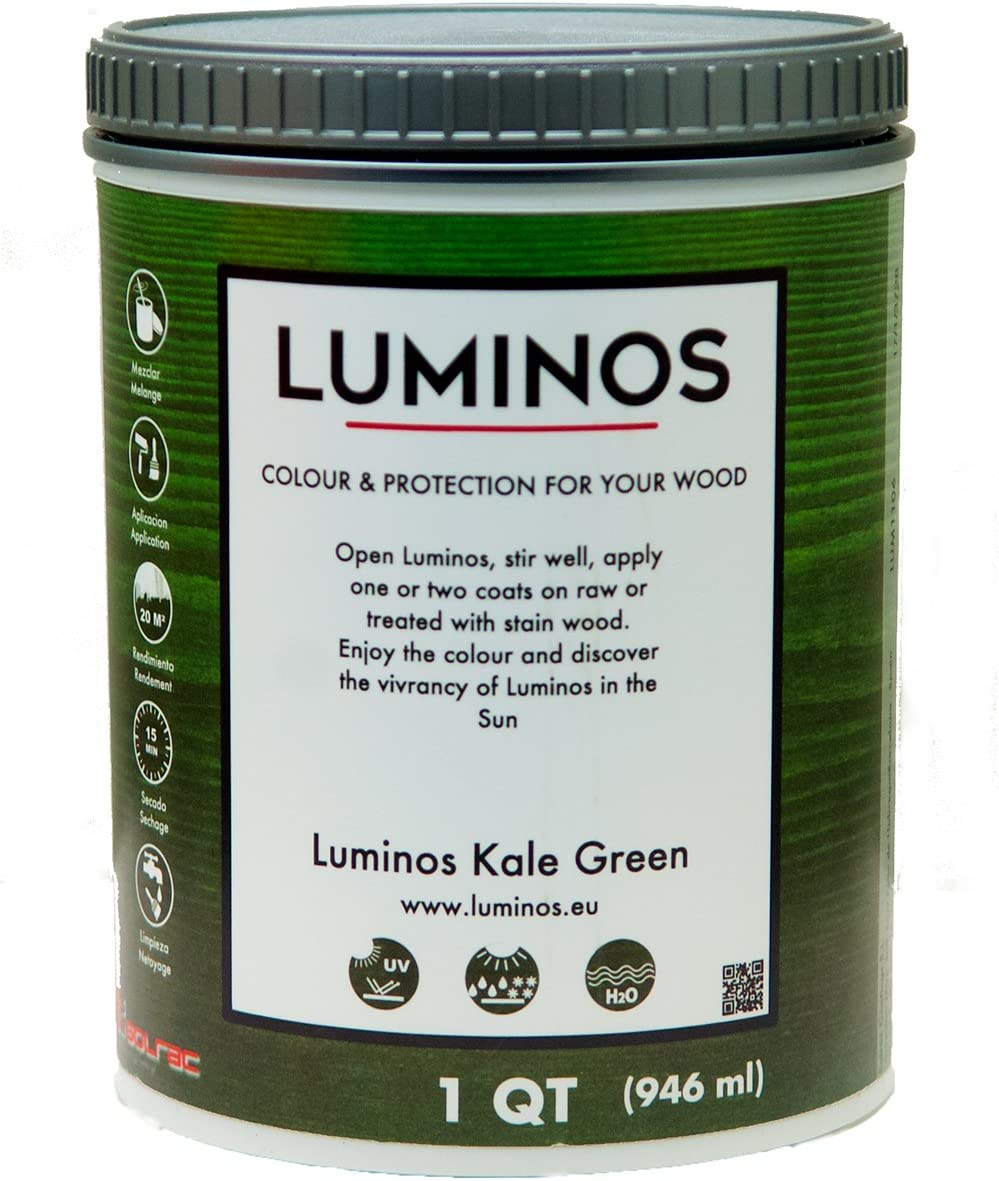 Luminos LUM1106 – Outdoor Wood Stain Finish Protector - Color Kale Green - Quart