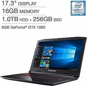 """Acer Predator Helios 300 Gaming Laptop: Core i7-7700HQ, GeForce GTX 1060 6GB, 17.3"""" Full HD, 16GB DDR4, 256GB SSD + 1TB HDD, Backlit Keyboard, VR Ready"""