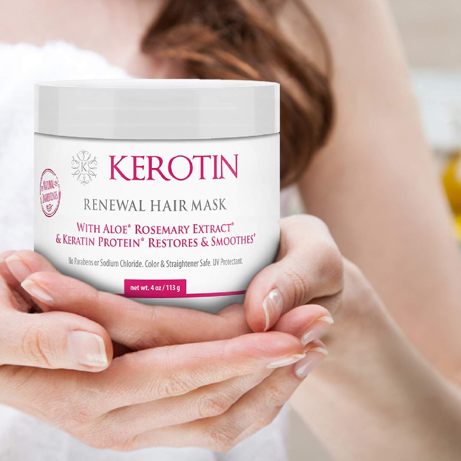 Keratin Renewal Hair Mask – Hydrating Conditioning Mask to Repair Dry Damaged Hair – Restores Elasticity Shine with Keratin Treatment Complex – 4 Fl Oz