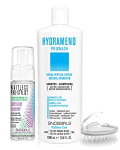 HYDRAMEND Prowash (shampoo) Intense Hydration & Repair | For Damaged, Dry, Brittle, Porous Hair | Vegan | Sulfate with 1 Shampoo Brush & 1 Styling Mousse