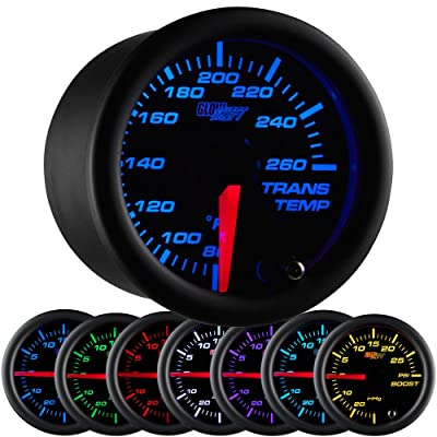"GlowShift Black 7 Color 260 F Transmission Temperature Gauge Kit - Includes Electronic Sensor - Black Dial - Clear Lens - for Car & Truck - 2-1/16"" 52mm: Automotive"