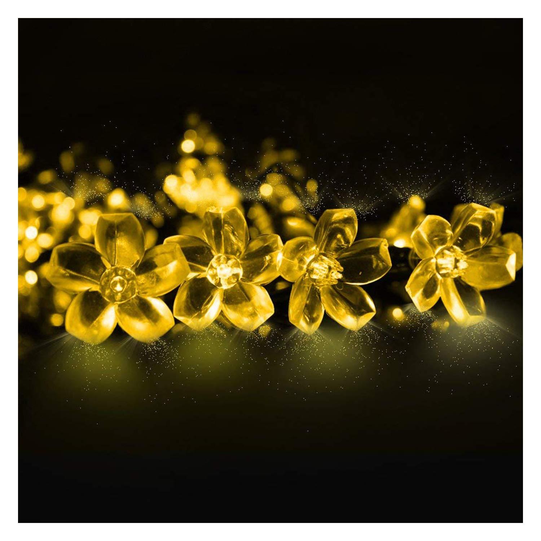 Cadenas de Guirnaldas LED alimentadas con energía solar, impermeable, 6.5M 50 LED con forma de flores alimentada para árboles de jardín, patio, bodas, fiestas, decoraciones navideñas (Multicolor) [Clase de eficiencia energética A++] Mr.Twinklelight YY-3205