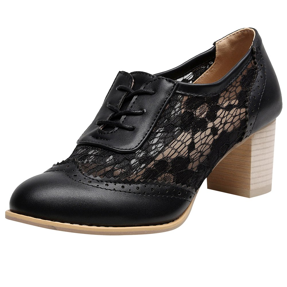 Jamron Women Summer Breathable PU&Lace Upper Oxfords Shoes Elegant Block Heel Brogue Dress Shoes Black SN02107 US7.5