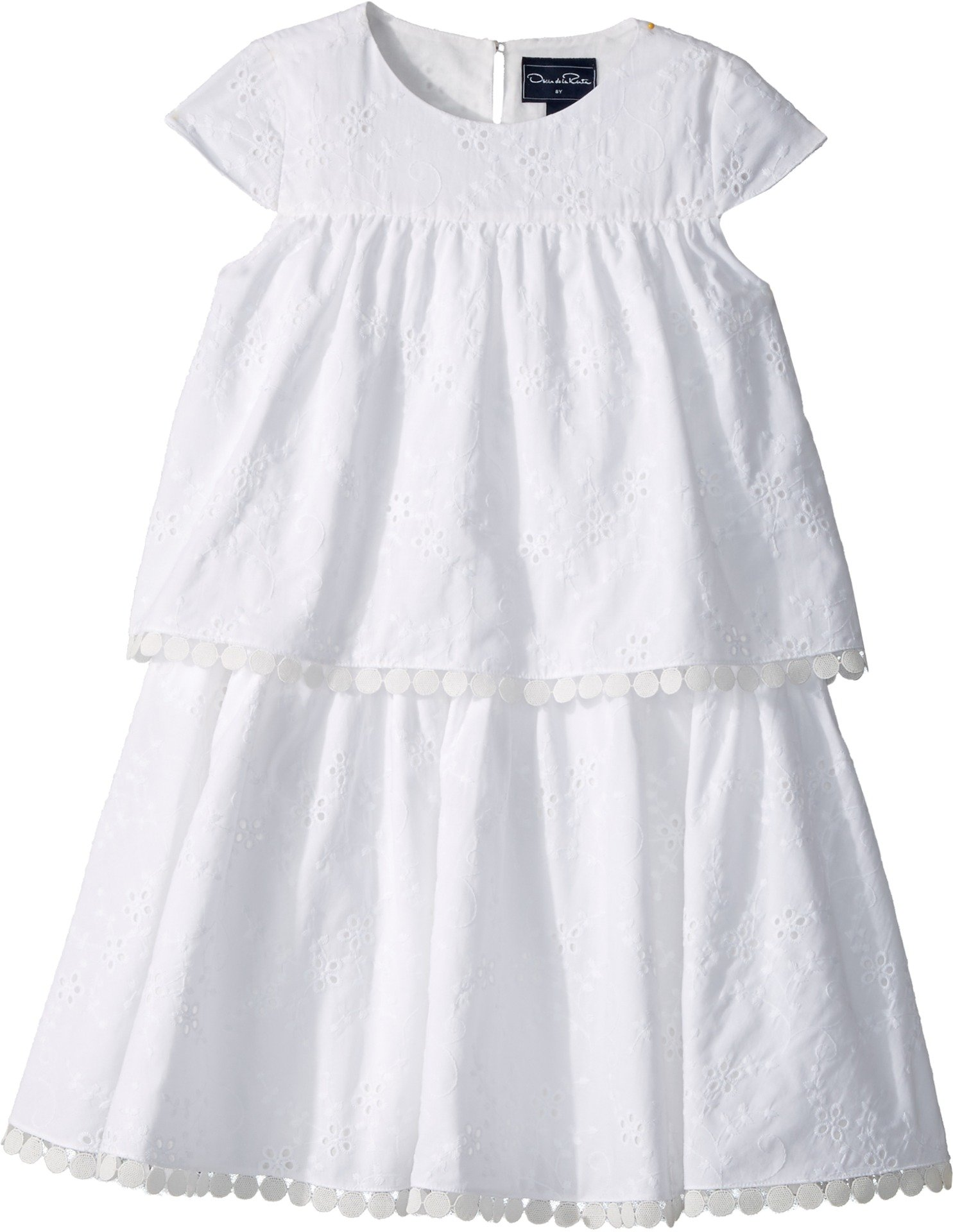 Oscar de la Renta Childrenswear Baby Girl's Cotton Flower Eyelet Tiered Dress (Toddler/Little Kids/Big Kids) White 8 by Oscar de la Renta (Image #1)