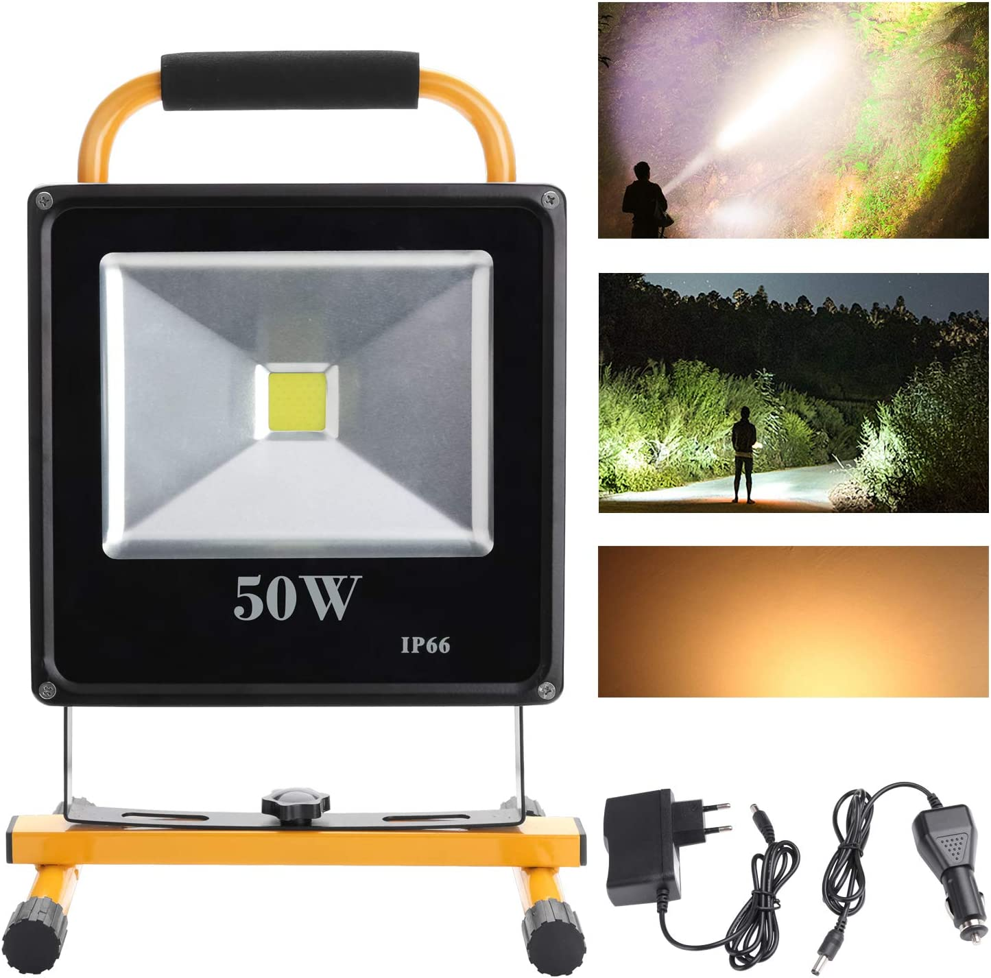 Hengda® 50W Blanco Cálido LED Foco proyector Recargable del Jardín al Aire Libre, Patio, Terraza, Pescado, Camping, Luz Protector Portátil