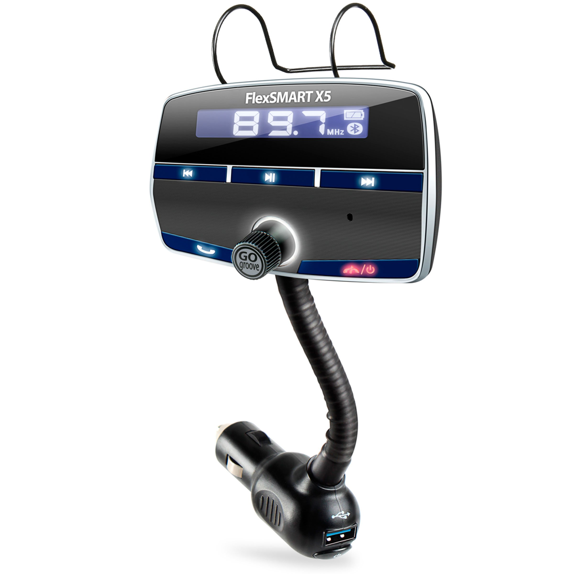 GOgroove FlexSMART X5 Bluetooth FM Transmitter Car Kit with Hands-Free Calling, Music Playback, USB Charging and Multiple Mounting Options - Works with Apple, Samsung, ASUS and More!