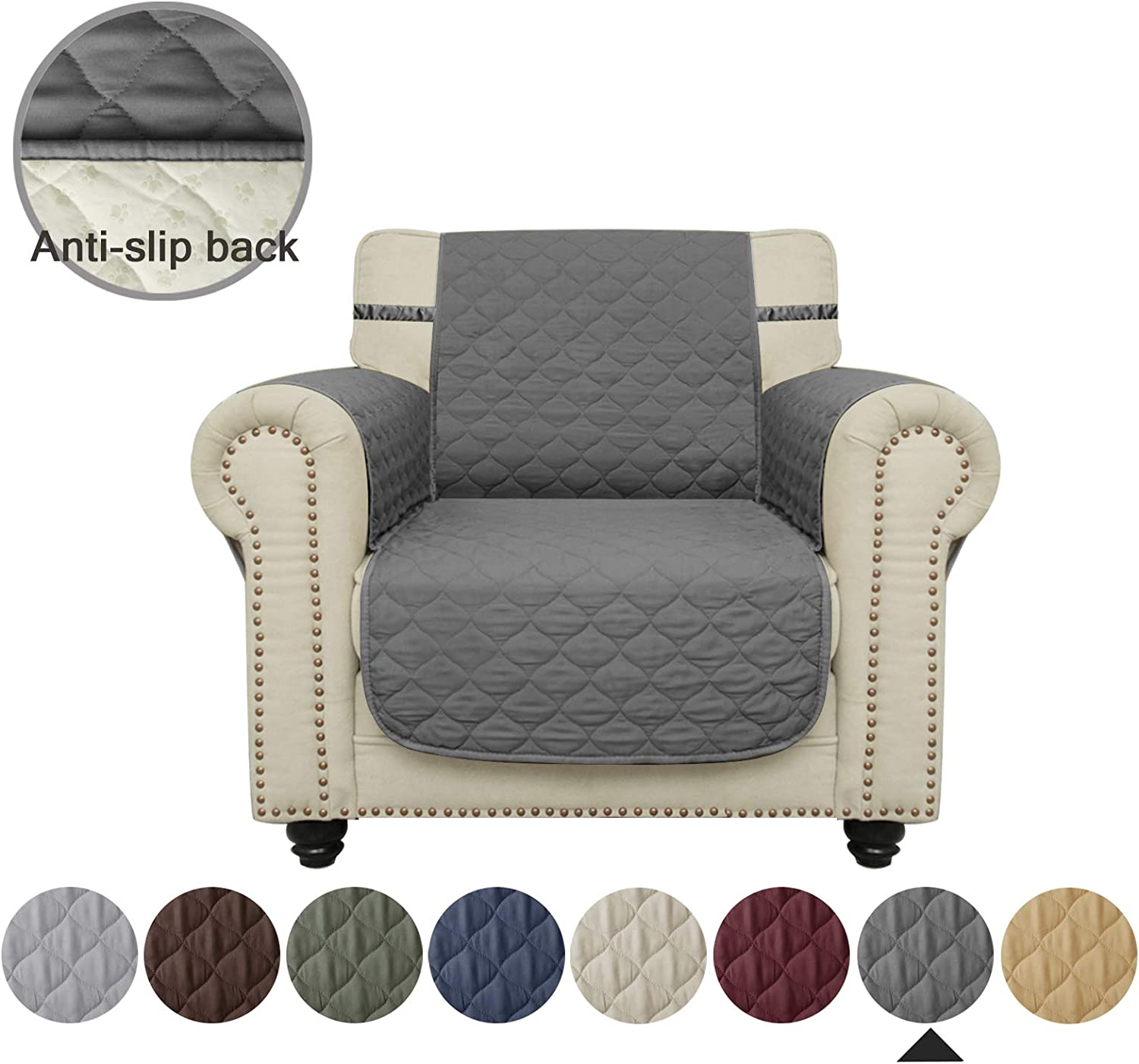 Furniture Protector Ameritex Chair Cover Waterproof Stay in Place 23, Light Grey Chair Slipcovers for Dogs