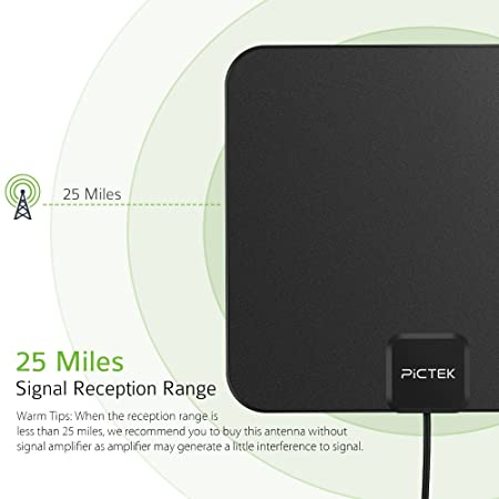 Antena TV, [Edición Mejorada] Antena de TV Interior de Pictek, Antena Digital, Antena Ultradelgada de HDTV de 25 Millas con Cable Largo de 10 Pies: ...