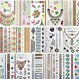 Bluezoo 15 sheets Flash Metallic Temporary Tattoos - 150+ Shimmer Designs in ...